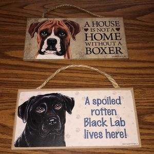 NWT - wooden fur pal signs set of 2